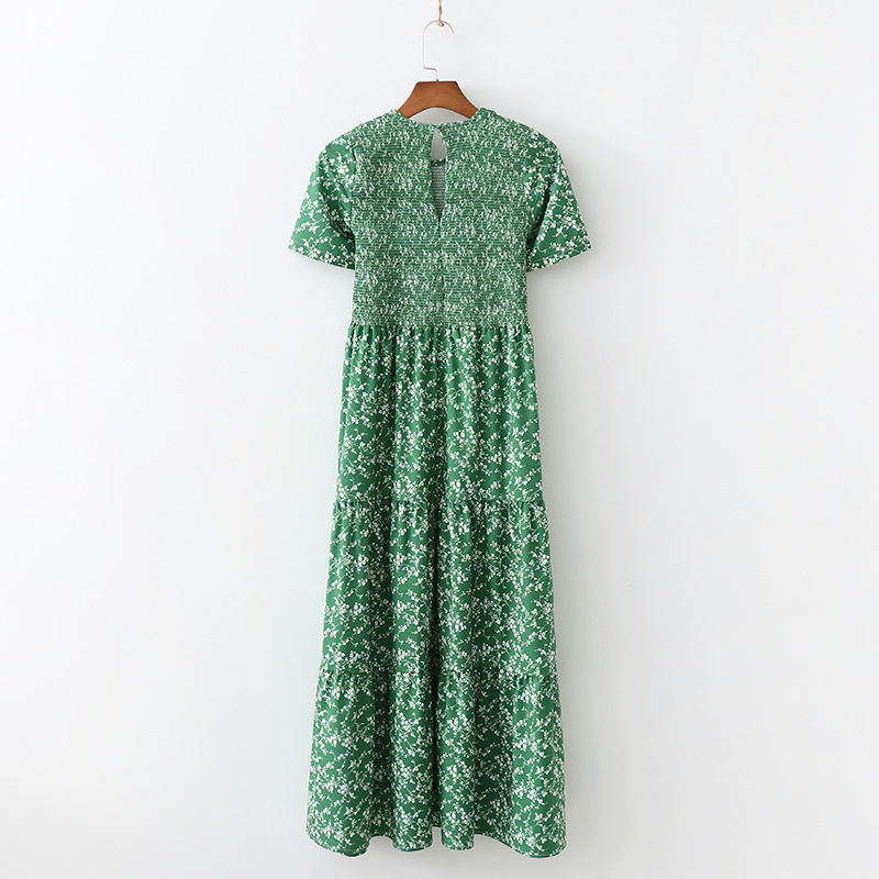 Décontracté nouvelles femmes robe à manches courtes o cou élastique plissé longues dames robes vintage bohème imprimer été femmes robes - 3