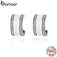 BAMOER 100 925 Sterling Silver Pink Radiant AAA Cubic Zircon Stud Earrings For Women Fashion Earrings