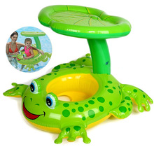 Swim Ring On Holiday Frog sunshade Floating Summer Kids Child Seat Inflatable Swimming boat toys Water pool tube Life buoy