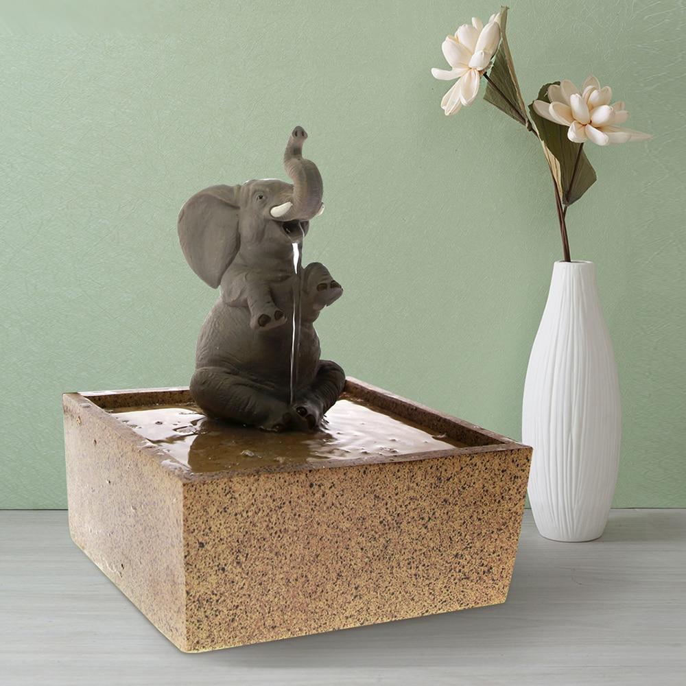 Tabletop Water Fountain Decorative Sitting Elephant Sculpture Kid Room Desktop Decor Indoor Meditation Air Freshener Waterfall
