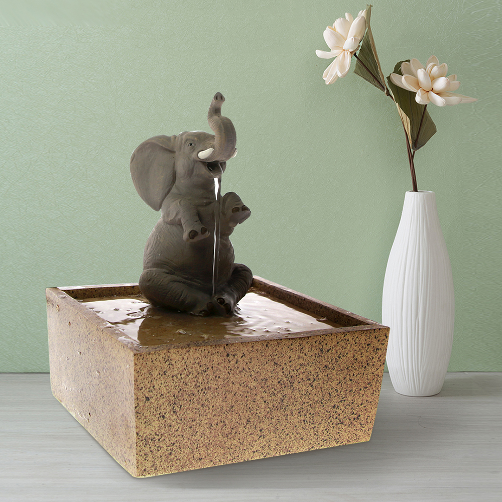 Tabletop Water Fountain Decorative Sitting Elephant Sculpture Kid