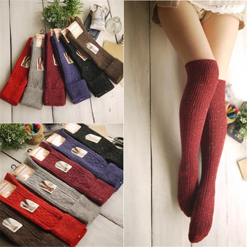 1pair Women Fashion socks Autumn winter long Knee Thick socks Women's Cotton Thigh High Sexy Socks Winter Boot Socks Wholesale one set winter thick socks