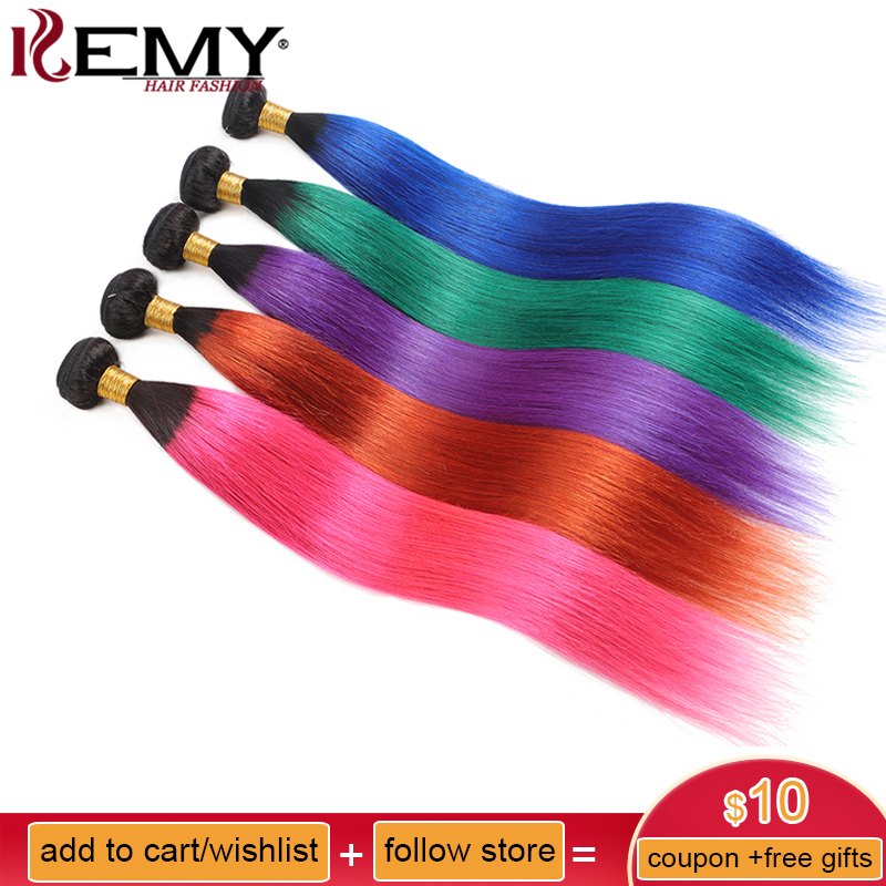 Ombre Pink Blue Human Hair Bundles KEMY HAIR Pre-Colored Brazilian Straight Human Hair Extension 1PC Non-Remy Hair Weaves Bundle(China)