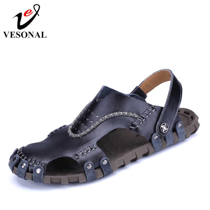 5cbe1cbad VESONAL 2018 новые летние из натуральной кожи мужские сандалии Мужская обувь  Повседневное классический Швейные пляжные сандалии