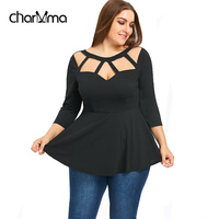 CharMma Women Spring Plus Size T Shirt Cut Out Peplum Ladies Tops Tees New Fashion Casual
