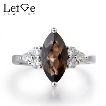 Leige Jewelry Nature Smoky Quartz Engagement Rings Wedding Bands Brown Color Marquise Cut Fine Jewelry Romantic Gifts For Woman