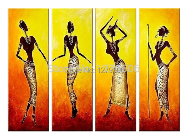 4 Pcs/set Oil Painting On Canvas Handmade Pictures Large Wall Art ...