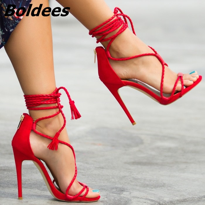 Fancy Fringe Woven Lace Up Thin Heel Sandals Sexy Red PU Leather Cut-out Open Toe Stiletto Heel Shoes Classy Tassel Dress Sandal