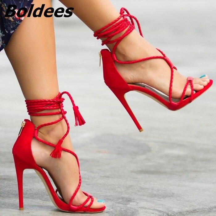 Beige rouge noir Talon En Bout Picture Sandales Aiguille Sexy Gland Pu Ouvert Tissé Robe Mince Cuir Up Chic Chaussures Frange Rouge Dentelle as Découpe Fantaisie Sandale wqxv4XO1BX