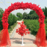 Wedding Centerpieces Metal Frame with Cherry Blossoms Chiffon Set Arch Happiness Door For Shopping Mall Opening Party Decoration
