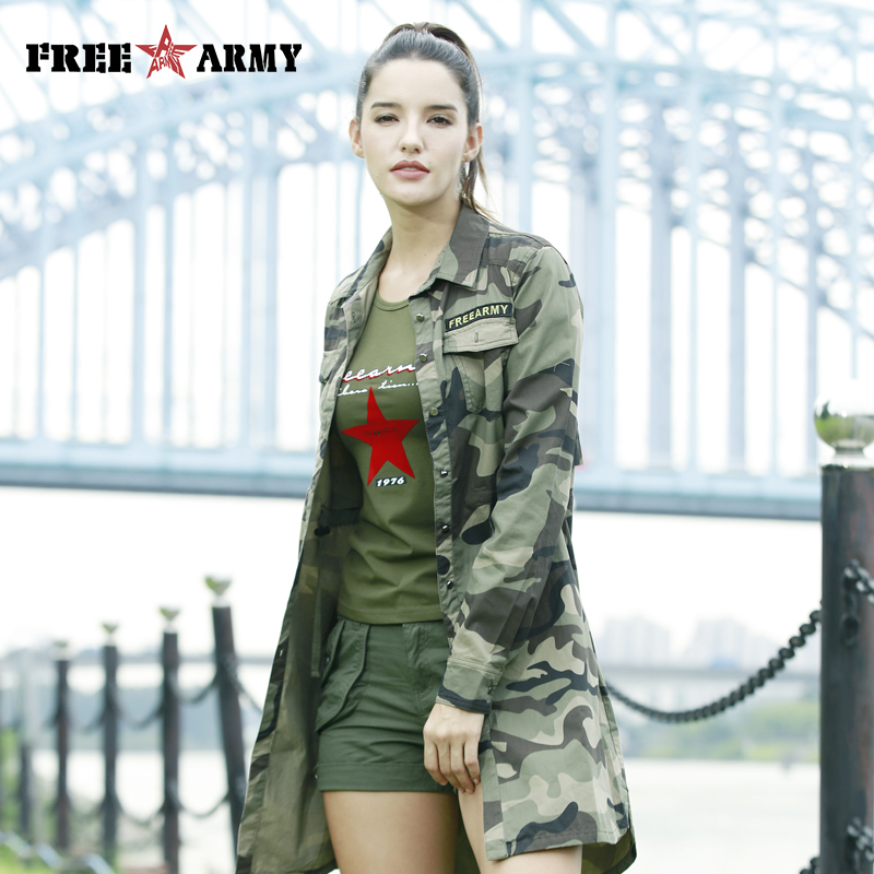 Freearmy Long Sleeve   Blouse     Shirts   Women Casual Turn Down Collar Camo Woman   Blouses   2018 Women's   Shirt   Plus Size Top Female