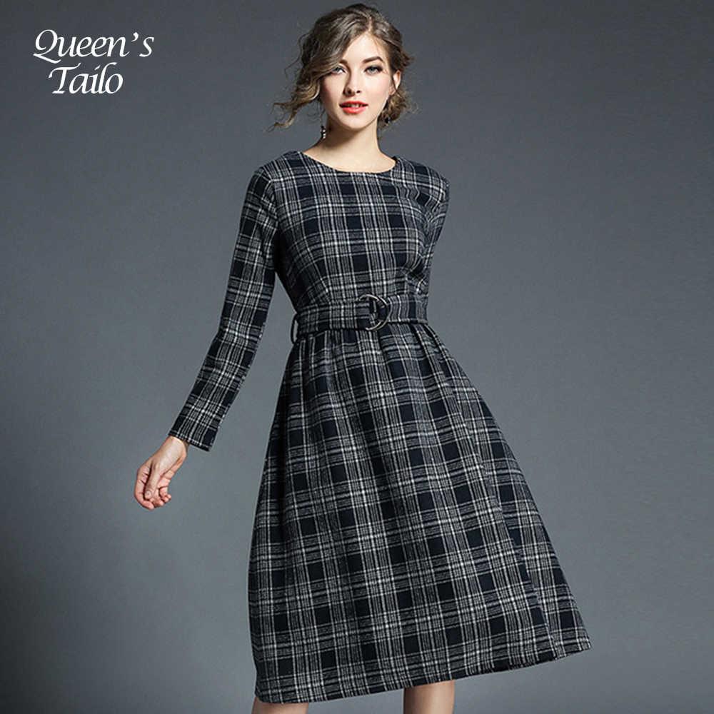 521ca73049b Новый Винтаж женщина плед шерстяное платье зимние теплые женские линии повседневные  платья Элегантное платье миди 5718