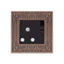 UK Round hole Emboss style, 15A 3 Pin wall socket, With ON/OFF switch and Indicator light, Zinc alloy frame outlet