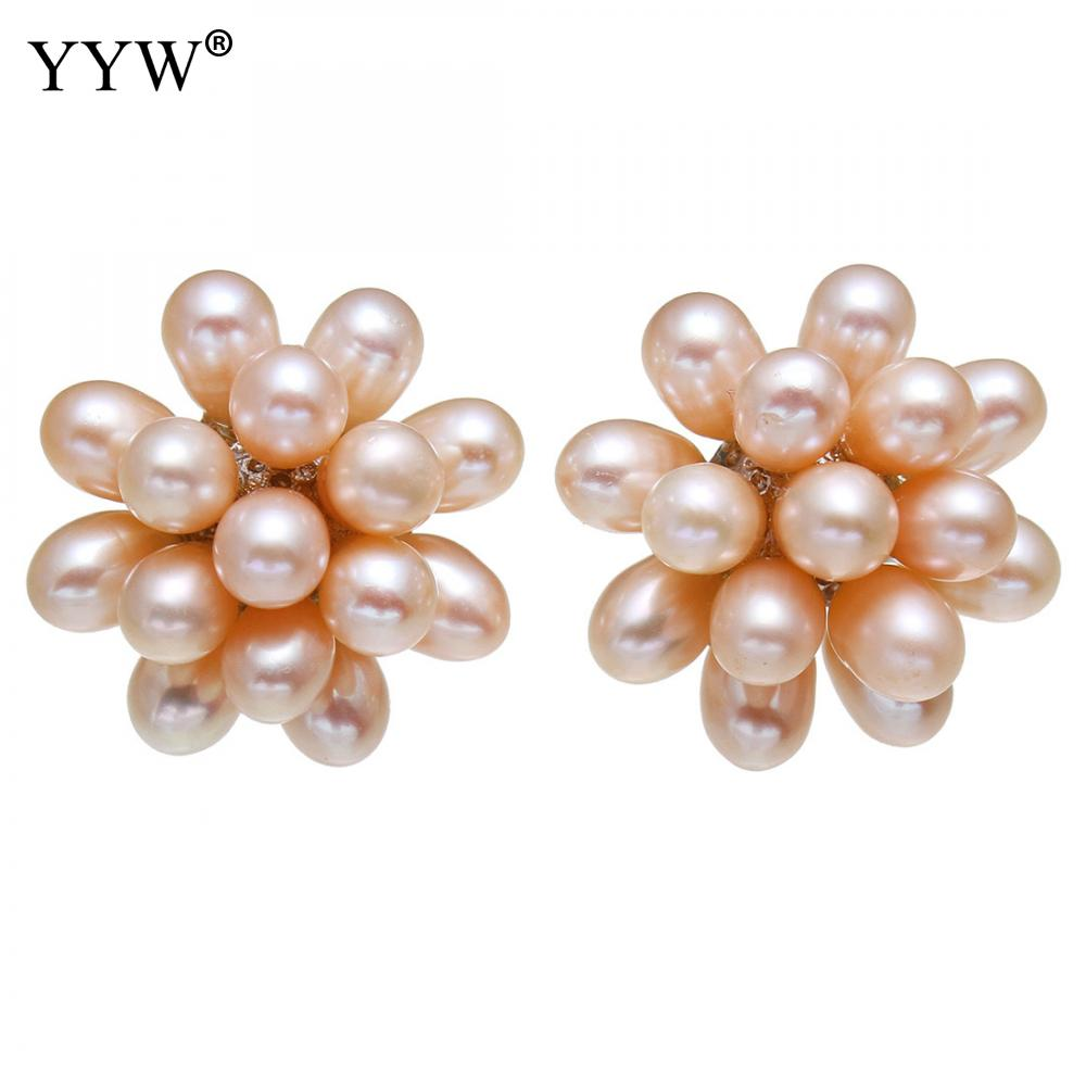 YYW Wedding Bridal Mom Birthday Gifts 1 Pair 20mm Flower Natural White Pink Black Freshwater Pearl Ear Studs Earrings for womanYYW Wedding Bridal Mom Birthday Gifts 1 Pair 20mm Flower Natural White Pink Black Freshwater Pearl Ear Studs Earrings for woman