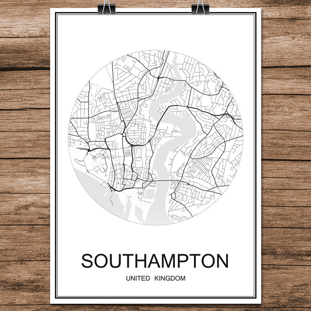 Black white world city map of southampton uk print poster coated black white world city map of southampton uk print poster coated paper for cafe living room gumiabroncs