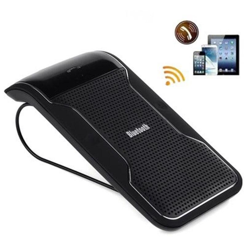 Prix pour Nouveau Sans Fil Noir Bluetooth Mains Libres Voiture Kit Mains Libres Pare-Soleil Clip 10 m Distance Pour iPhone Smartphones avec Chargeur De Voiture