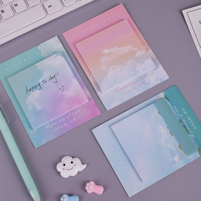Colored clouds student memo pad planner sticky note paper sticker kawaii stationery pepalaria office school supplies 30 pages 1