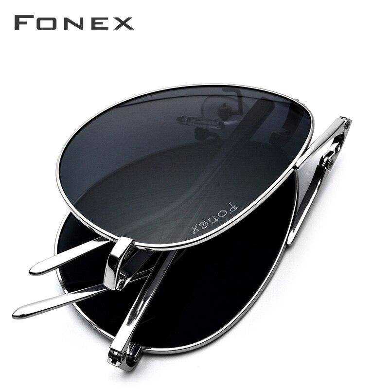 Titane pur lunettes de soleil polarisées hommes pliage classique Aviation lunettes de soleil pour hommes 2018 nouveau Aviador haute qualité mâle nuances