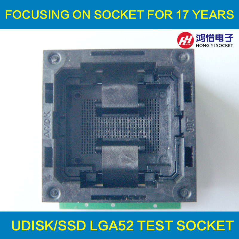 Flash Programmer Adapter LGA52 TO DIP48 IC Test Socket With Board Burn in Socket Open Top Structure LGA52 Programming Socket fshh qfn32 to dip32 programmer adapter wson32 udfn32 mlf32 ic test socket size 3 2mmx13 2mm pin pitch 1 27mm