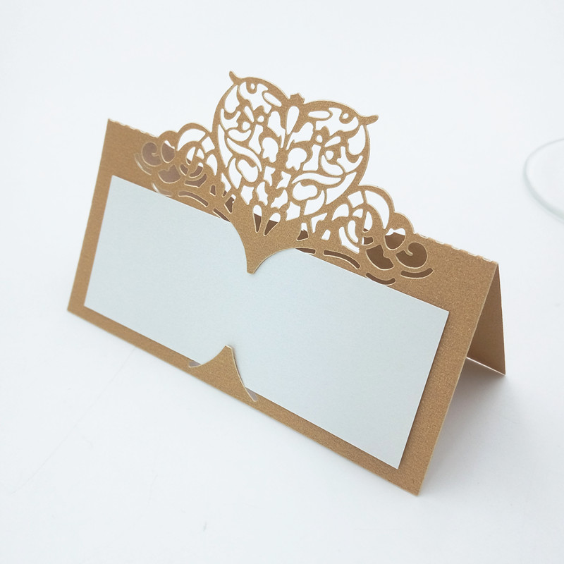 10pcs Laser Cut Paper Table Cards Seat Card For Wedding Party Decoration Name Place Cards Anniversary Decoration Supplies 5ZZ46