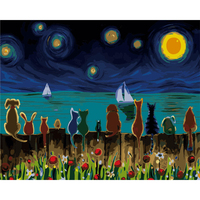 Children Cartoon Frameless Pictures Painting By Numbers DIY Digital Canvas Oil Painting Europe Home Decoration Cat