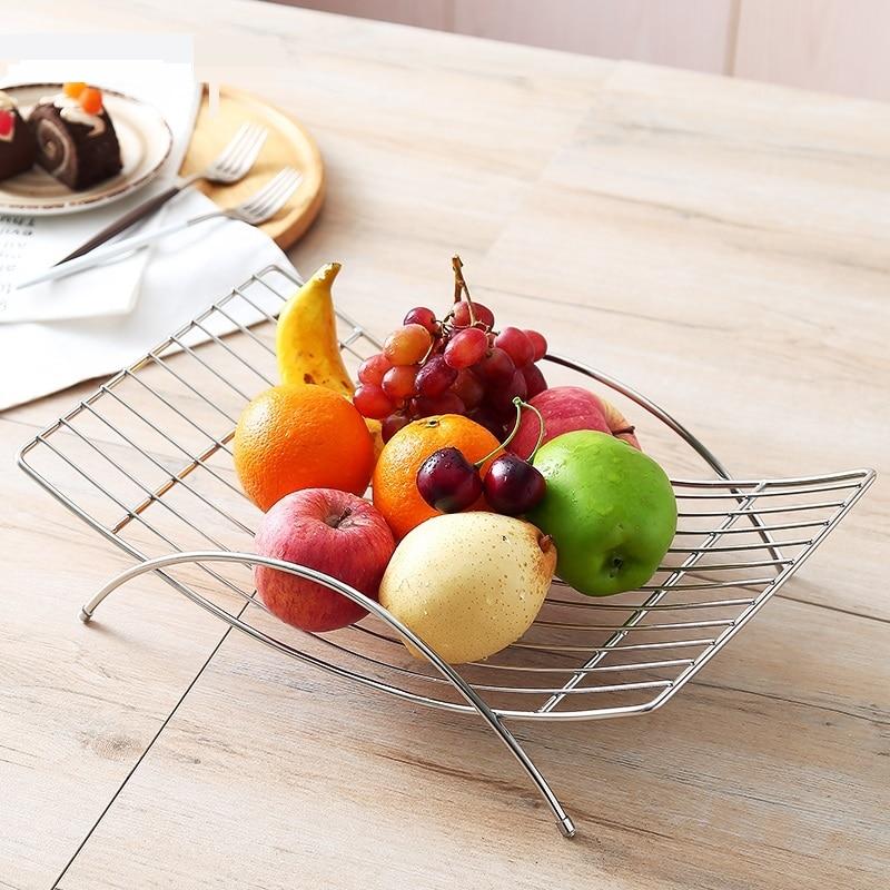 Creative Minimalist Stainless Steel Arc Shape Fruit Plate Ornamental Metal Serving Tray Household Dinnerware Decor Accessories