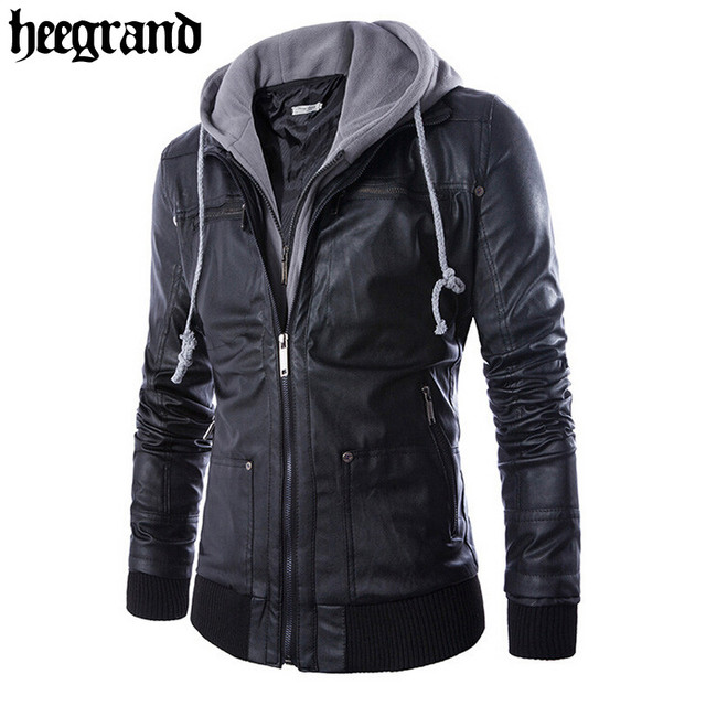 HEE GRAND 2017 New Arrival Men Solid Hooded PU Leather Jackets High Quality Casual Slim Male Coats MWP219
