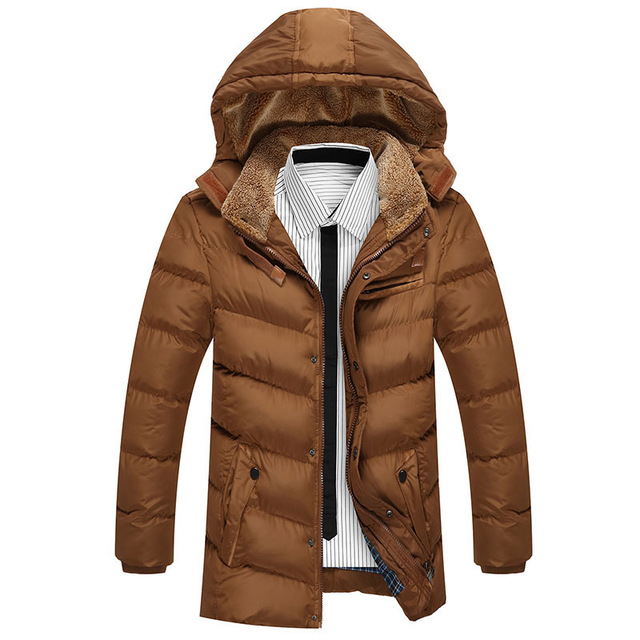 Long Style Parka Winter Cotton Down Jacket And Coats For Men L-3XL Fashion Hooded Man Brand Casual Thick Coat Homme Grey E421 short style parka winter cotton down jacket for men korean big size l 4xl slim fit stand collar man casual coat homme grey e374