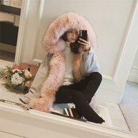 2017 New Winter Women Jacket Large Fake Fur Collar Hooded Parka Women Thick Cotton Fur Overcoat