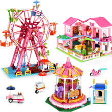 Girls Princess Villa Blocks Ferris Wheel Carousel Building Blocks Compatible with Friends Educational Toys For Children все цены
