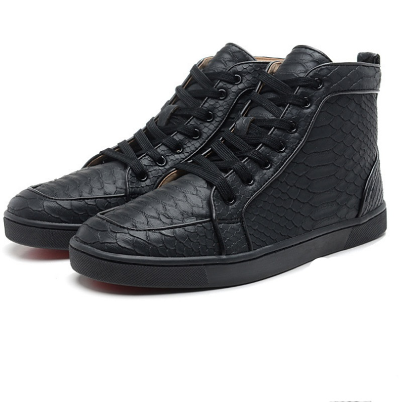 US $118 57 |Outdoor cl black Knife cut Python skin Lace Up Rivets Red  Bottom shoes Sneakers leather casual men's flat 2019-in Men's Casual Shoes  from