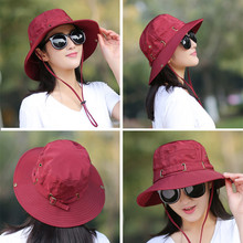 Foldable Adult Lady Summer Cotton Breathable Bucket Hats Outdoors Wind Rope Fixed Adjustment Sunscreen UV Protection Sun Hat