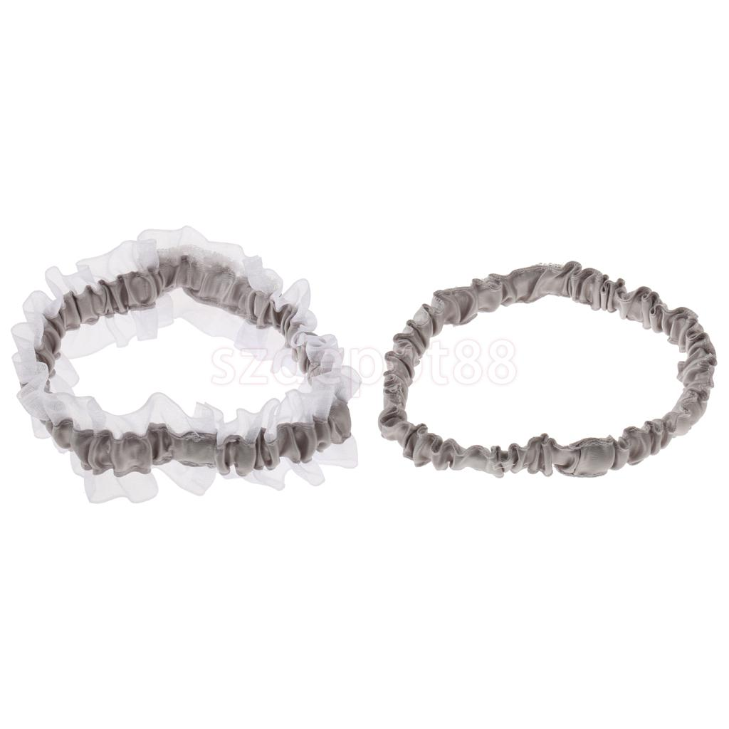 Bridal White Gown Lingerie Satin Crystal Wedding Honeymoon Prom Leg Garter Set Thigh Ring M/L