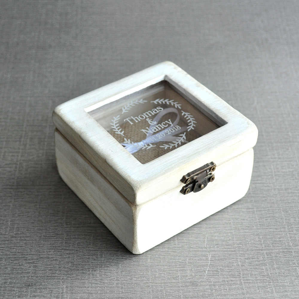 Personalised Wedding Ring Box Ring Bearer Custom Engagement Ring