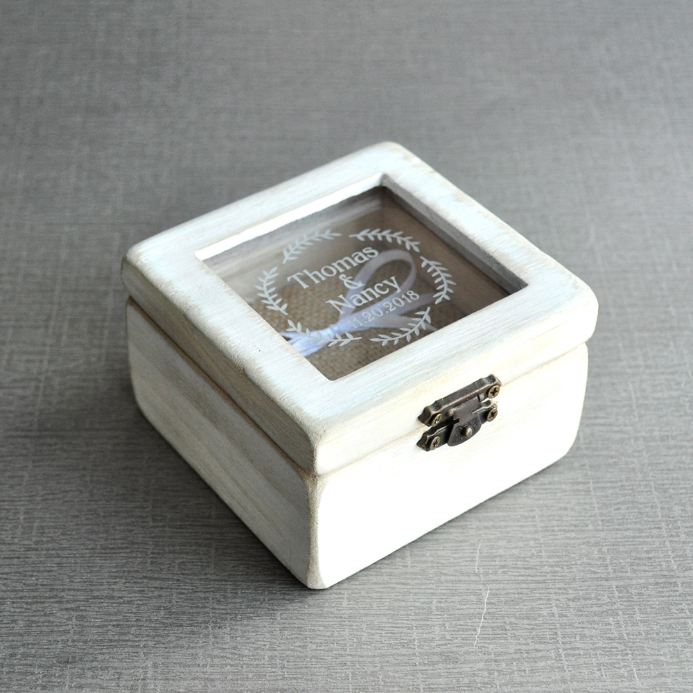 Personalised wedding ring box ring bearer custom for Cute engagement ring boxes