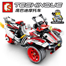 Sembo Diamon Nano Blocks Bombardier motorcycle Mechanical password Technic Voiture  Building Brick Educational Toy Gift
