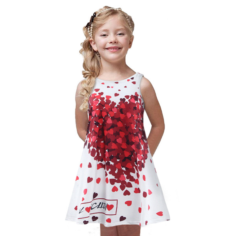 Summer Casual Clothes for Girls Red Heart Print Floral Printing Sleeveless Girl Dress Children Clothing for 3-8 Years Kid Girl summer style girls clothing for 6 14 years old girl baby girls pony dress sleeveless girl children clothing
