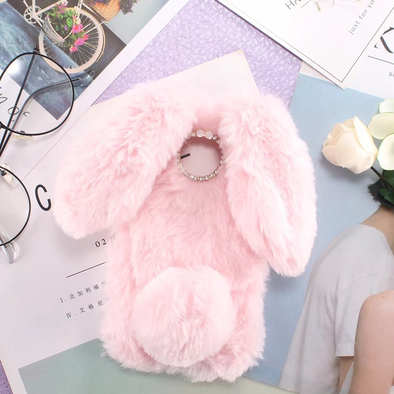 Cute Bunny Plush Case For Coque LG X CAM Case Soft TPU Silicone Rabbit Furry Cover For LG XCam K580 K580DS Dual Housing Case