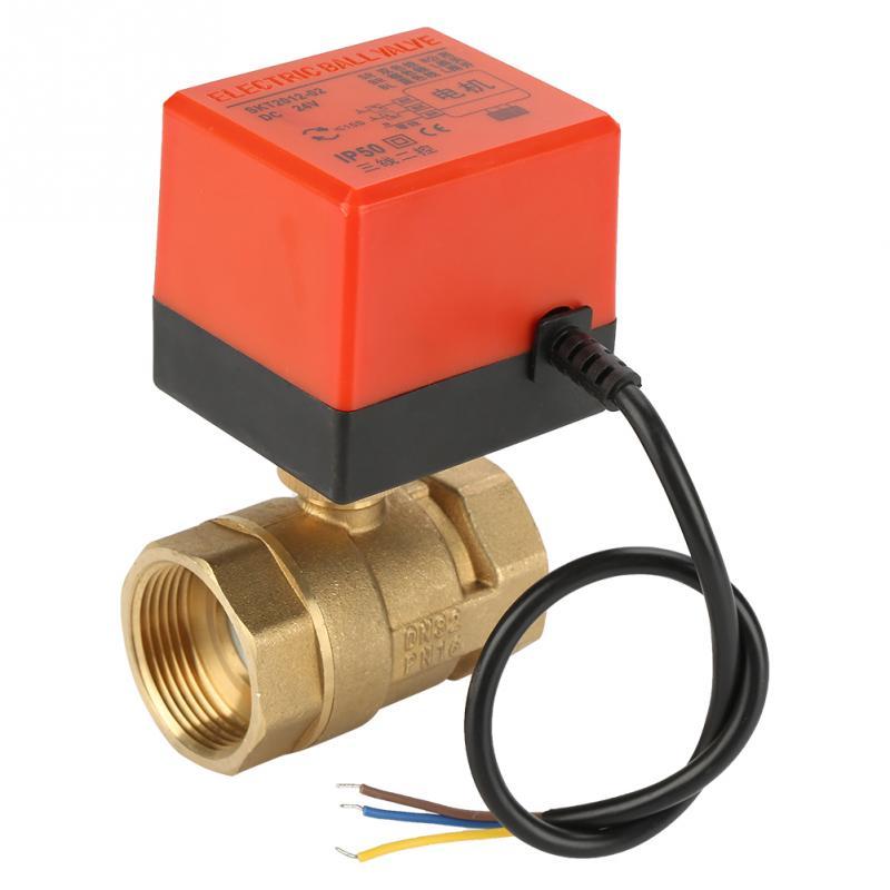 1 Stück Dc 24 V Ball Ventil 2 Weg 3 Draht Messing Motorisierte Ball Ventil Elektrische Ventil Dn32 G1-1/ 4in Valvula Solenoide Wasser Ventil