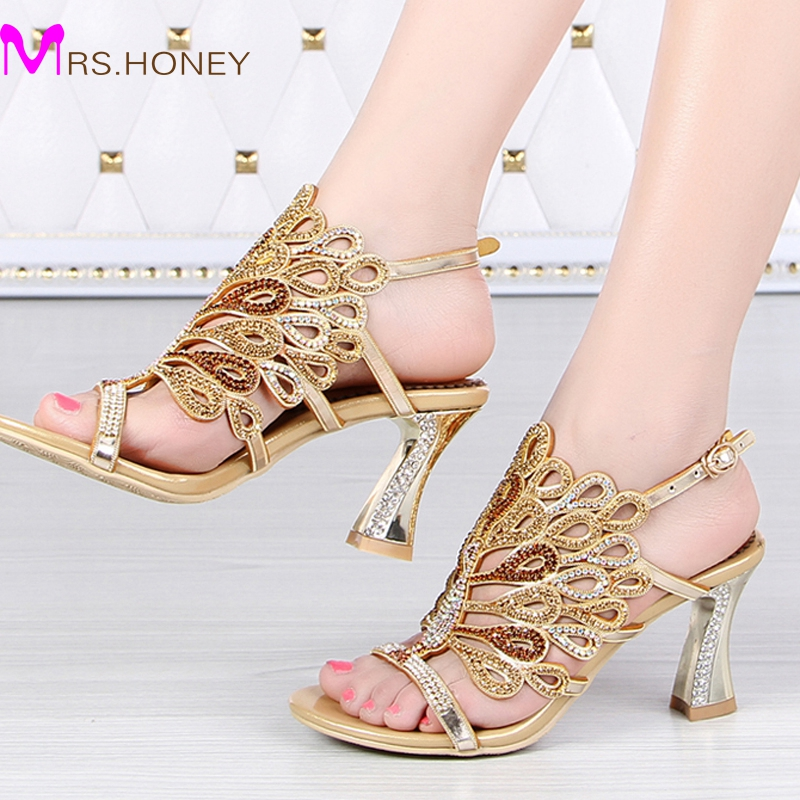 Gold Blue Summer Sandals Rhinestone Chunky Heel Genuine Leather ...