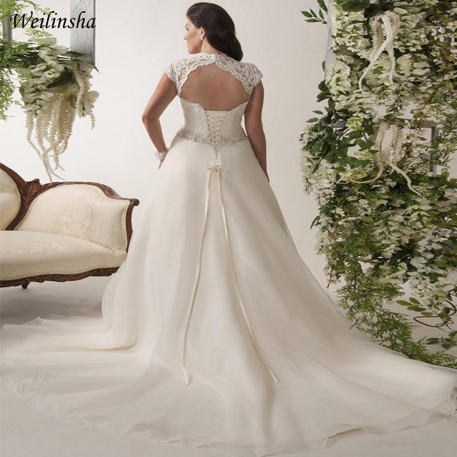 Image 2 - Weilinsha New Arrival Plus Size Wedding Dress Cap Sleeve Beaded Belt Organza Bridal Gowns Vestidos De Novia Backless-in Wedding Dresses from Weddings & Events
