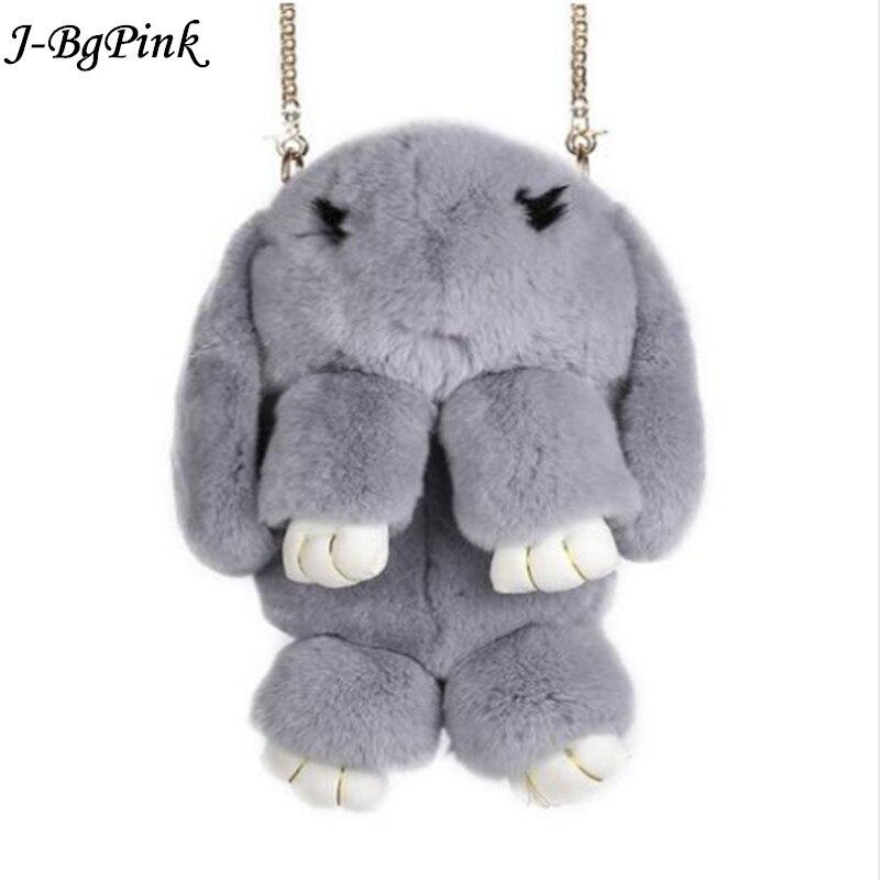 2018New модные bandsolera женский мех кролика цепи мешок женский модель новая зимняя Трава сумка косой сумка милый кролик ba