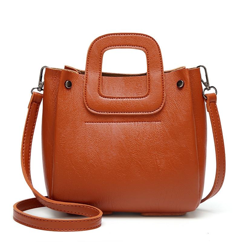 Women\'S Handbags Solid Ladies Shoulder Messenger Shopping Bag Casual Bucket Single Shoulder Wax Oil Leather Bag