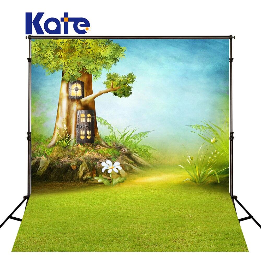 KATE nouveau-né toile de fond famille toile de fond conte de fées décors écran forêt enfants arbre maison fond bleu pour photographe