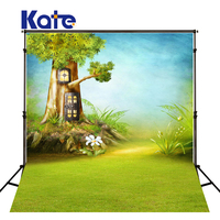 Family Backdrop Green Screase Forest Children Tree House Lawn Blue Background For Photographer