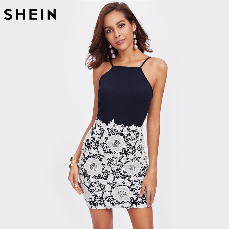 SHEIN Contrast Floral Lace Overlay Cami Dress Multicolor Spaghetti Strap Backless Sexy Dress Sleeveless Bodycon Dress