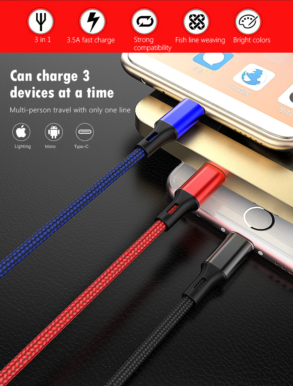 NOHON 3 in 1 Charging Cable Micro USB 8 Pin For iPhone X 8 7 XS MAX XR Plus Type C Lighting For Xiaomi Huawei 3.5A Charge Cable  (2)