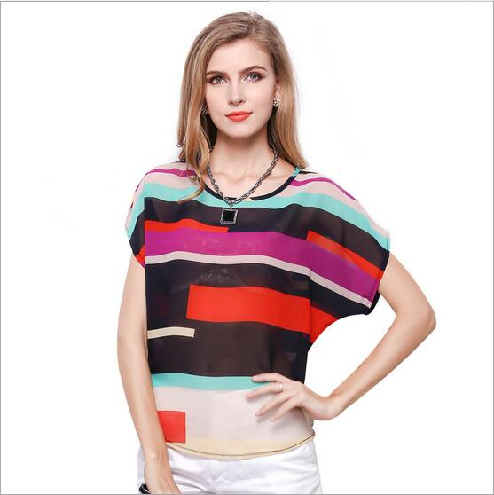 New 2017 Summer Fashion Women Casual Rainbow Print Bat Sleeve Chiffon Blouses Harajay Clothing