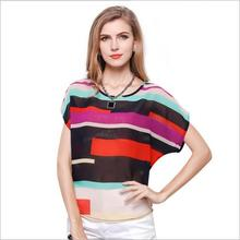 New 2017 Summer Fashion Women Casual Rainbow Print Bat Sleeve Chiffon Blouses Harajay Clothing