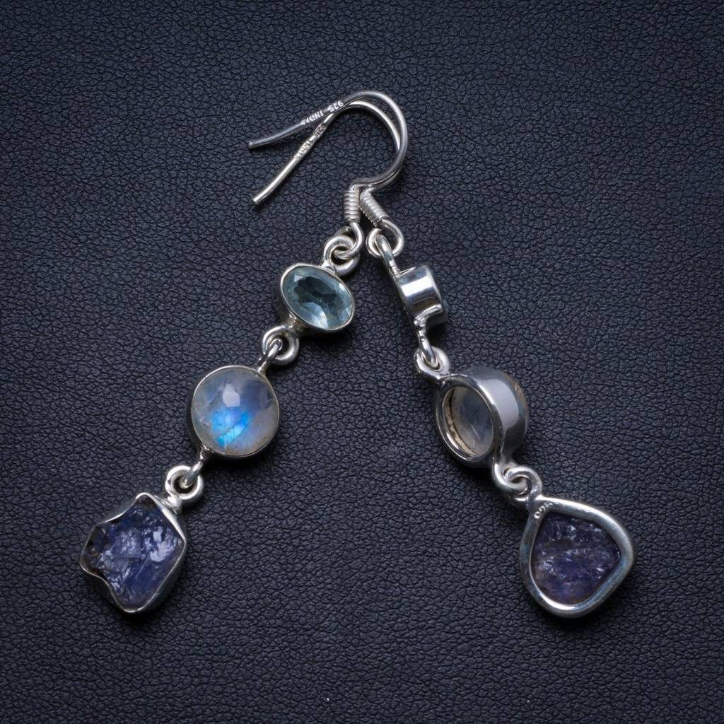 Natural Kyanite,Moonstone and Blue Topaz Handmade Unique 925 Sterling Silver Earrings 2 X3819